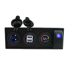 cheap Auto Parts-DC 12V led power 3.1A USB port Sockets led voltmeter with rocker switch jumper wires and housing holder