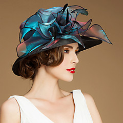 cheap Party Headpieces-Flax Silk Organza Hats Headwear with Floral 1pc Special Occasion Casual Outdoor Headpiece