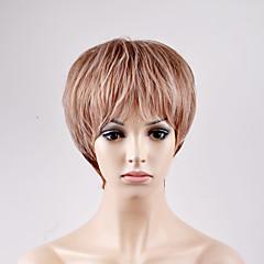 billiga Peruker och hårförlängning-Syntetiska peruker Rak Blond Bob-frisyr Syntetiskt hår Blond Peruk Dam Korta Utan lock