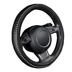 cor preta autoyouth pu volante de couro tampa da roda com o tamanho do fio de costura m durável branco se encaixa 38 centímetros / 15