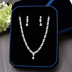 Cubic Zirconia Ζιρκονίτης Ασημί 1 Κολιέ 1 Ζευγάρι σκουλαρίκια Για Γάμου Πάρτι Ειδική Περίσταση Καθημερινά Causal 1set Δώρα Γάμου