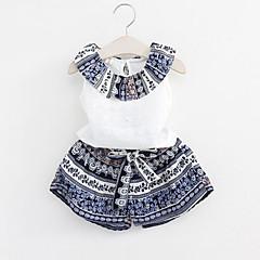 billige Tøjsæt til piger-Pige Tøjsæt Daglig Patchwork, Rayon Polyester Sommer Uden ærmer Blå Lyserød
