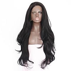 Χαμηλού Κόστους Προσφορά Χαλοουίν-Συνθετικές μπροστινές περούκες δαντέλας Ίσιο Συνθετικά μαλλιά Ανθεκτικό στη Ζέστη / Φυσική γραμμή των μαλλιών Μαύρο Περούκα Γυναικεία Μεσαίο / Μακρύ Δαντέλα Μπροστά Μαύρο