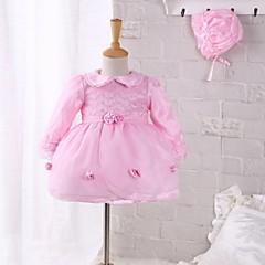 billige Babykjoler-Baby Pige Blonde / Pænt tøj Fest / I-byen-tøj Blomstret Langærmet Kjole