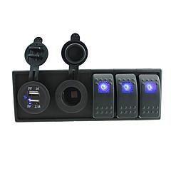 billige Autodele-dc 12v / 24v førte digitale 3.1a dual usb oplader stikkontakt med toggle rocker switches jumper ledninger og boliger holder