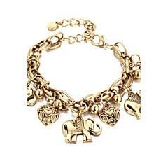 baratos -Pulseiras em Correntes e Ligações Fashion Liga Coração Jóias Presente Jóias de fantasia Dourado Prata