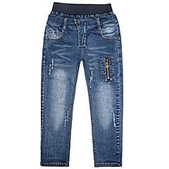 billige Gutteklær-Barn Gutt Tegneserie Ensfarget Bomull Jeans