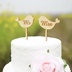 Taarttoppers Niet-persoonlijk Klassiek Koppel Harten acryl Hard kunststof Kaart Papier Bruiloft Trouwdag Bruidsshower GeelStrand Thema