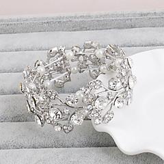צמידים צמידים קריסטל סגסוגת Leaf Shape טבע חתונה Party תכשיטים מתנות כסף,1pc