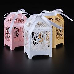 baratos Lembrancinhas-Cubóide Papel Pérola Suportes para Lembrancinhas com Fitas Caixas de Ofertas - 50