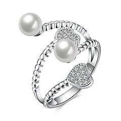 指輪 結婚式 パーティー 日常 カジュアル ジュエリー 純銀製 人造真珠 ジルコン 指輪 1個,8 シルバー