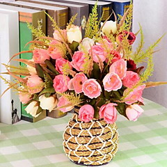 ieftine -1 ramură Plastic Trandafiri Față de masă flori Flori artificiale