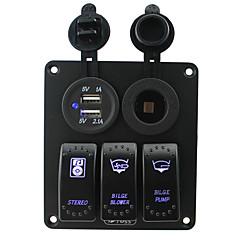 halpa -iztoss sininen led 3 jengi 5pin keinukytkin paneeli pistorasia ja 5v 3.1a (2.1a1a) kahdella USB johdotus sarjat DC12V / 24V merellisten