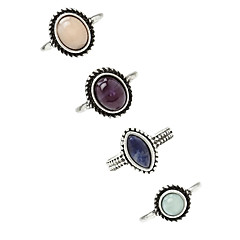 billige Motering-Dame geometriske Ring - Legering Vintage, Euro-Amerikansk En størrelse Sølv Til Fest / 4stk