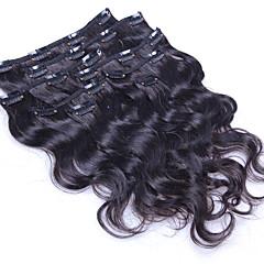 baratos Extensões de Cabelo Natural-Com Presilha Extensões de cabelo humano Onda de Corpo Cabelo Humano Cabelo Brasileiro Mulheres Diário