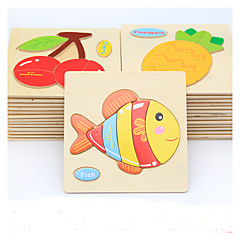cheap -Educational Flash Cards Jigsaw Puzzle Wooden Puzzles Pegged Puzzles Educational Toy Fish Animals DIY Cartoon Children's Gift