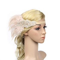 cheap Party Headpieces-Rhinestone Feather Polyester Headbands Flowers Headwear with Floral 1pc Special Occasion Headpiece