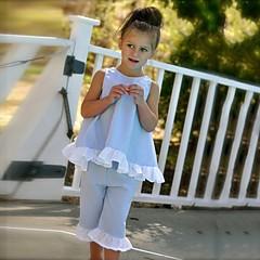 billige Tøjsæt til piger-Pige Tøjsæt Daglig Strand I-byen-tøj Ensfarvet Prikker, Bomuld Polyester Sommer Uden ærmer Punkt Rosette Blå Grøn Lyserød