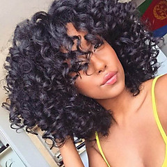 cheap Wigs & Hair Pieces-Synthetic Wig Curly Afro For Black Women African American Wig Capless Women's Black Natural Wigs Medium