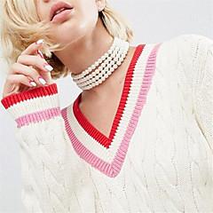 女性用 チョーカー 人造真珠 黒曜石 ジュエリー 人造真珠 人造真珠 あり 欧米の 手作り ホワイト ジュエリー のために パーティー 日常 カジュアル 1個