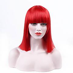billiga Peruker och hårförlängning-Syntetiska peruker Rak Syntetiskt hår Svart Peruk Korta Utan lock Röd