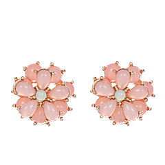 Χαμηλού Κόστους Φλοράλ κοσμήματα-Γυναικεία Κρυστάλλινο Κουμπωτά Σκουλαρίκια - Κρύσταλλο Λουλούδι Καυτό Ροζ Για Πάρτι / Καθημερινά / Causal