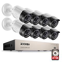ieftine Securitate & Siguranță-zosi® hd-tvi 8ch 1080p sistem de camere de supraveghere 2.0mp 8 * 1080p 2000tvl zi de noapte viziune cctv home security 2tb hdd