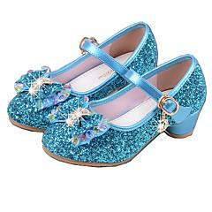 Para Meninas Sapatos Couro Ecológico Primavera Verão Plataforma Básica Saltos Cristais / Laço para Prata / Azul