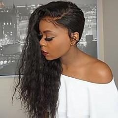 billiga Peruker och hårförlängning-Obehandlat Halvnät utan lim Peruk Brasilianskt hår / Vattenvågor Peruk 130% Naturlig hårlinje / Afro-amerikansk peruk Dam Lång Äkta peruker med hätta