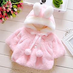 billige Overtøj til babyer-Baby Pige Pænt tøj Ferie / I-byen-tøj Ensfarvet Langærmet Bomuld dun- og bomuldsforet
