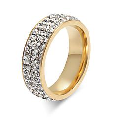 billige Motering-Dame Krystall Ring - Titanium Stål Personalisert, Grunnleggende, Mote 5 / 6 / 7 / 8 / 9 Gull / Sølv Til Fest jubileum Bursdag