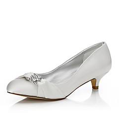 Womens Dyeable Wedding Shoes Fall Winter Comfort Silk Outdoor Office Career Dress Party Evening Low Heel Ivory
