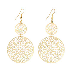 Hot Sale Fashion Vintage Classic Plated Gold/Silver Hollow Round Flower Drop Earrings For Women Dangle Long Earrings Jewelry Bijouterie