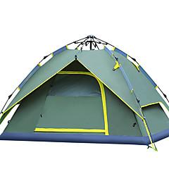 billige Telt og ly-4 personer utendørs Turtelt Vindtett Regn-sikker UV Beskyttelse Automatisk Kuppel Ett Rom Dobbelt Lagdelt Telt til Vandring Camping Glassfiber Oxford
