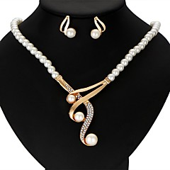 preiswerte Schmuckset-Damen Perle Schmuck-Set - Viktorianisch damas, Luxus, Bänder Einschließen Ohrring Y Halskette Gold Für Hochzeit Party Jahrestag Geschenk Normal Maskerade