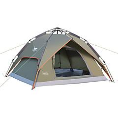 billige Telt og ly-DesertFox® 3-4 personer Telt Dobbelt camping Tent Ett Rom Automatisk Telt Vanntett Regn-sikker til Camping 2000-3000 mm Oxford CM
