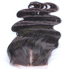 cheap Closure & Frontal-Classic Body Wave 4x4 Closure French Lace Human Hair Free Part Middle Part 3 Part High Quality Daily