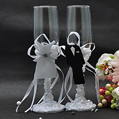 cheap Toasting Flutes-New Style Bride and Groom Formal Dress Wine Glass Set Wedding Reception