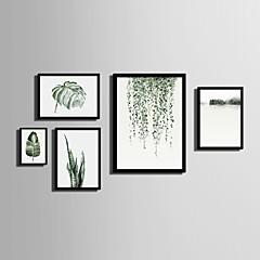 baratos Quadros com Moldura-Quadros Emoldurados Conjunto Emoldurado Paisagem Floral/Botânico Arte de Parede, PVC Material com frame Decoração para casa Arte