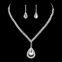 Women's Drop Earrings Choker Necklaces Bridal Jewelry Sets Silver Rhinestone Classic Elegant Jewelry Sets For Wedding Party Engagement
