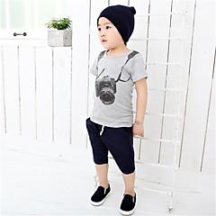 baratos Roupas de Meninos-Unisexo Camiseta Diário Esportes Escola Verão Algodão Manga Curta Cinzento