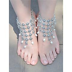 tanie Piercing-Perła Frędzel Sandały Barefoot - Sztuczna perła Kropla Vintage, Moda Złoty / Srebrny Na Codzienny Casual Damskie