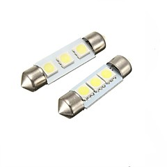 2W white 41MM  Festoon 3LED SMD5050 DC12V Licence Plate Dome Interior Light Led Lamp Car LED Bulb Parking 2PCS