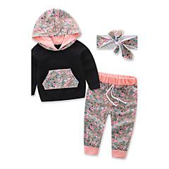 billige Tøjsæt til piger-Baby Unisex Blomster / Pænt tøj Blomstret / Sport / Mode Langærmet Normal Normal Bomuld Tøjsæt Sort 100