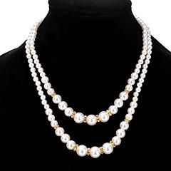 女性用 ストランドネックレス 人造真珠 合金 円形 コスチュームジュエリー ジュエリー 用途 パーティー 日常 カジュアル