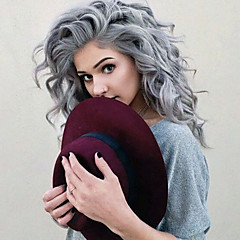 cheap Synthetic Lace Wigs-Synthetic Lace Front Wig Women's Water Wave Gray Synthetic Hair Heat Resistant / Natural Hairline Gray Wig Medium Length / Long Lace Front Grey