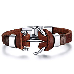 cheap Men's Bracelets-Men's Leather Bracelet - Leather Friends, Anchor Rock, Fashion, Hip-Hop, Movie Jewelry, Initial Bracelet Jewelry Brown For Christmas Gifts Birthday Gift Sports