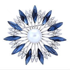 cheap Pins and Brooches-Women's Brooches Rhinestone Floral Alloy Flower White Dark Blue Red Jewelry For Wedding Party Special Occasion Halloween Daily