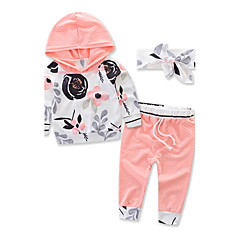 billige Tøjsæt til piger-Baby Unisex Blomster / Pænt tøj Blomstret / Sport / Mode Langærmet Bomuld Tøjsæt