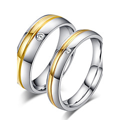 cheap Rings-Couple's Couple Rings Ring Band Ring Titanium Champagne Rose Gold Titanium Steel Round Bridal Simple Style Wedding Party Anniversary